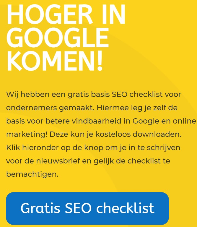 Gratis SEO checklist vdmmarketing
